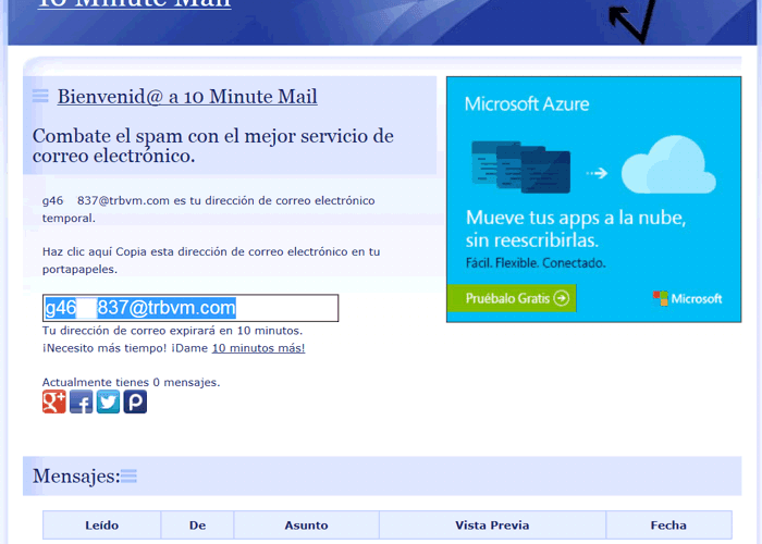 Web para email 10 minutos
