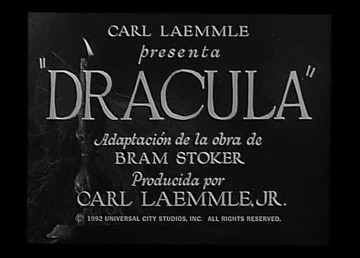 Títulos de crédito de la película Drácula (1931) dirigida por George Melford.