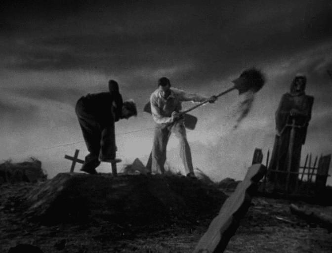 El Dr. Frankenstein y su ayudante Fritz robando una tumba.