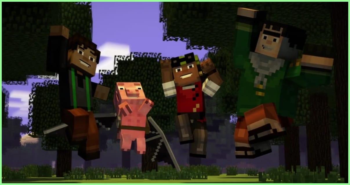 Minecraf modo historia Jesse, Reuben, Olivia y Axel