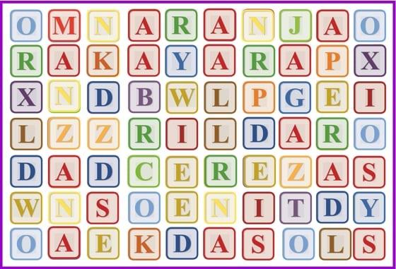 sopa letras frutas