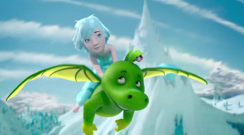 Tabaluga y la princesa de hielo, el dragon con la princesa