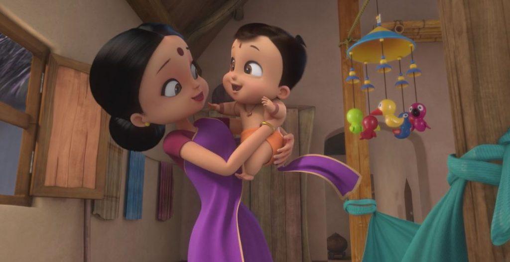 El pequeño Bheem, con su madre