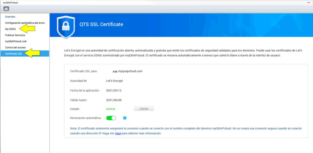 ddns y certificado ssl qnap